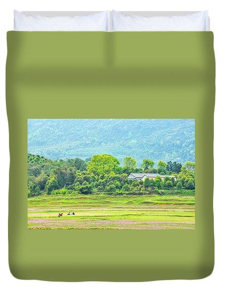 Rural Scenery In Spring Duvet Cover
