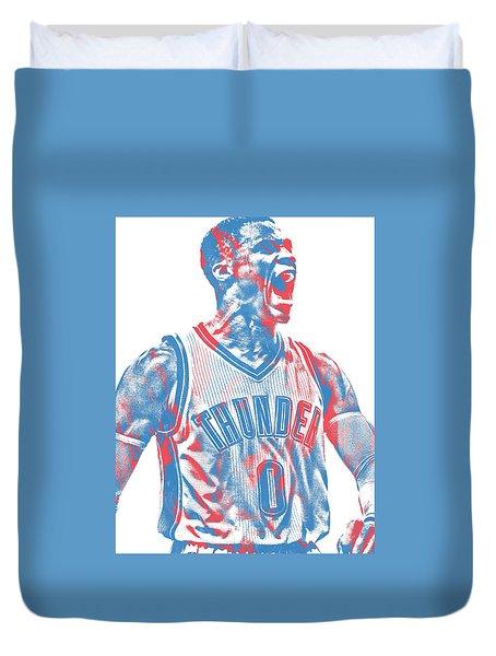 Russell Westbrook Oklahoma City Thunder Pixel Art 31 Duvet Cover