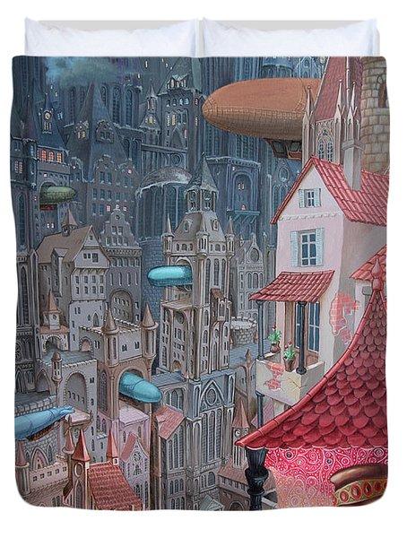Saga Of The City Of Zeppelins Duvet Cover