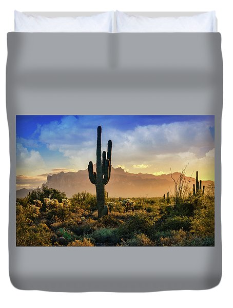 Duvet Cover featuring the photograph Saguaro Sunrise In The Superstitions  by Saija Lehtonen