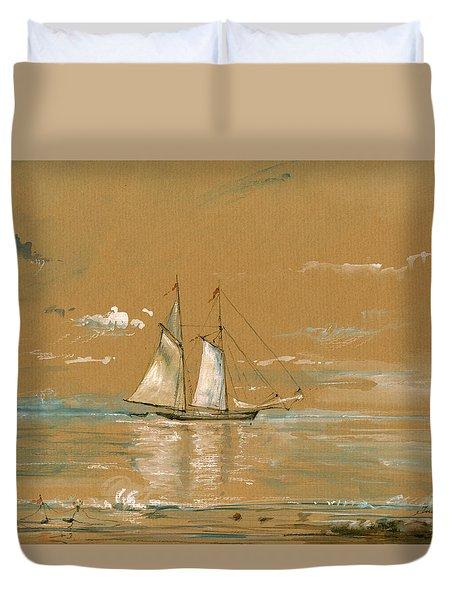 Sail Ship Watercolor Duvet Cover