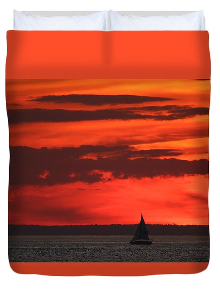 Sailboat Mount Sinai New York Duvet Cover