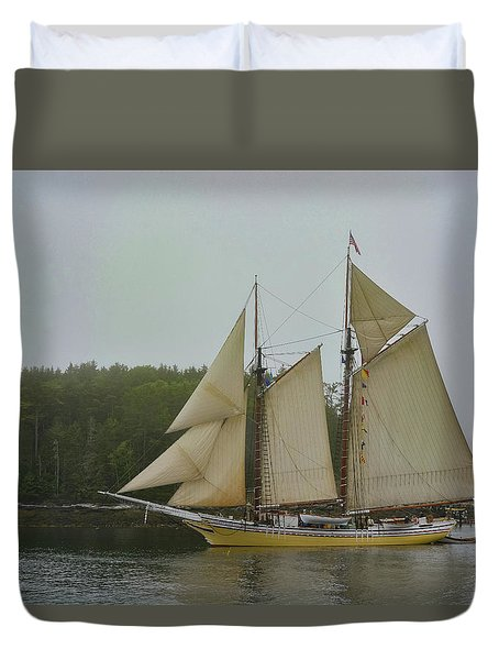 Sailing In The Mist Duvet Cover
