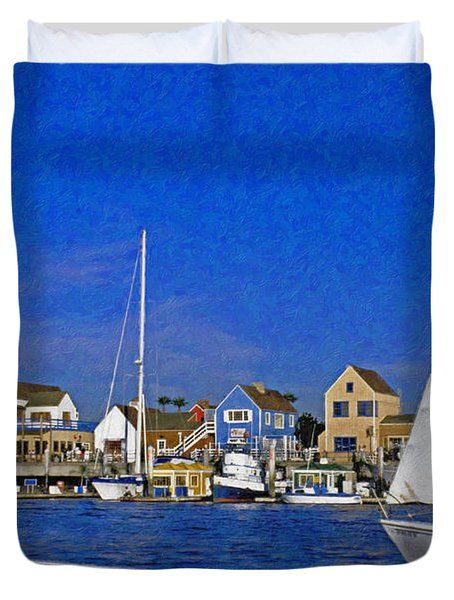 Duvet Cover featuring the photograph Sailing Marina Del Rey Fisherman's Village by David Zanzinger