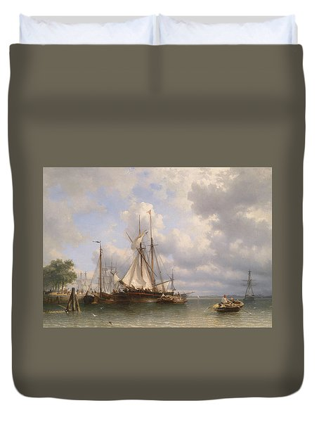 Sailing Ships In The Harbor Duvet Cover by Anthonie Waldorp