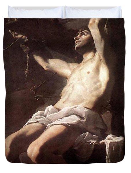 Saint Sebastian By Mattia Preti Duvet Cover