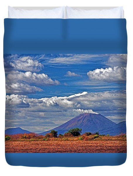 Duvet Cover featuring the photograph San Cristobal Volcano by Dennis Cox WorldViews