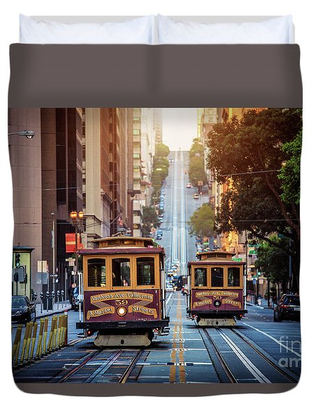 San Francisco Cable Cars Duvet Cover by JR Photography