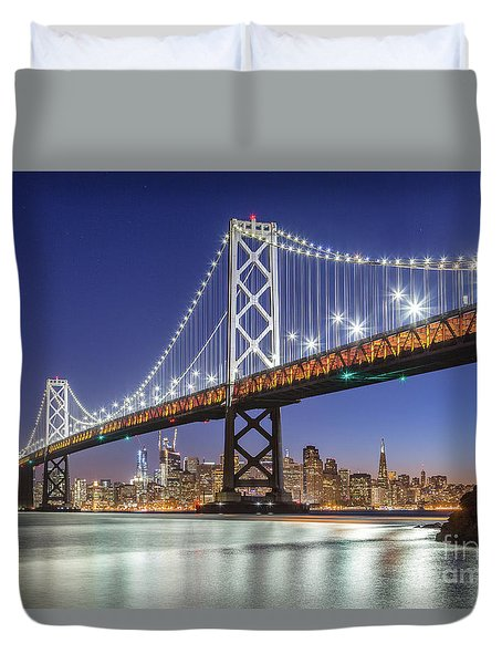 San Francisco City Lights Duvet Cover by JR Photography