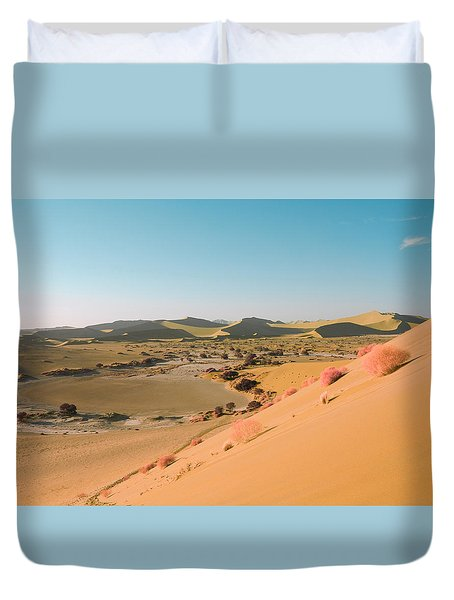 Duvet Cover featuring the pyrography Sand Dunes by Artistic Panda