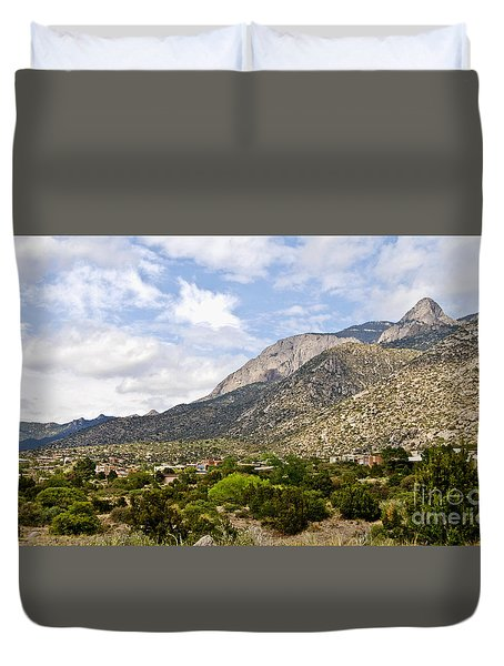 Duvet Cover featuring the photograph Sandia Mountains by Gina Savage
