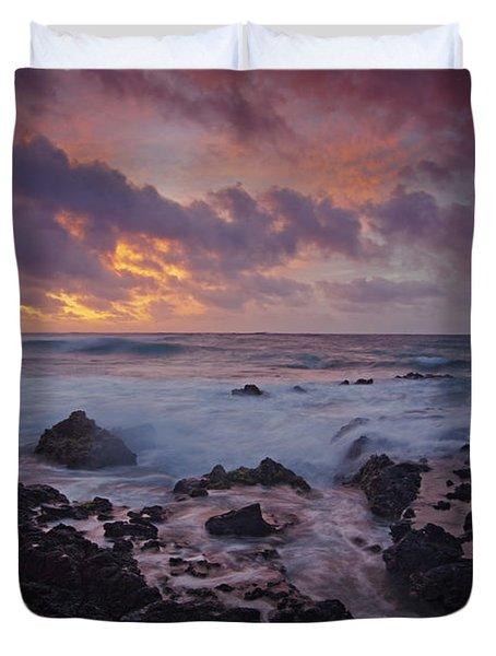 Sandy Beach Sunrise Duvet Cover by James Roemmling