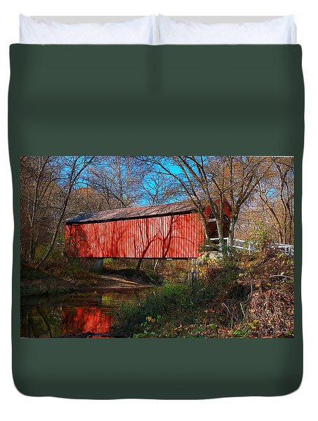 Sandy /creek Covered Bridge, Missouri Duvet Cover by Steve Warnstaff
