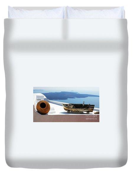 Duvet Cover featuring the photograph Santorini Greece by Bob Christopher
