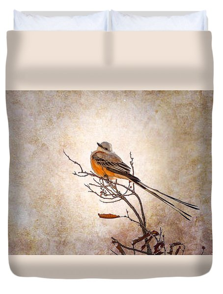 Scissor-tailed Flycatcher  Duvet Cover by Doug Long