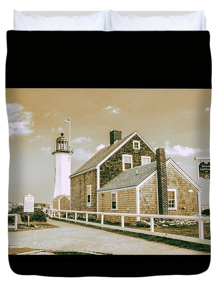 Scituate Lighthouse In Scituate, Ma Duvet Cover