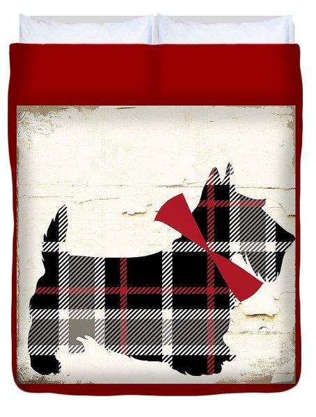 Scottish Terrier Tartan Plaid Duvet Cover