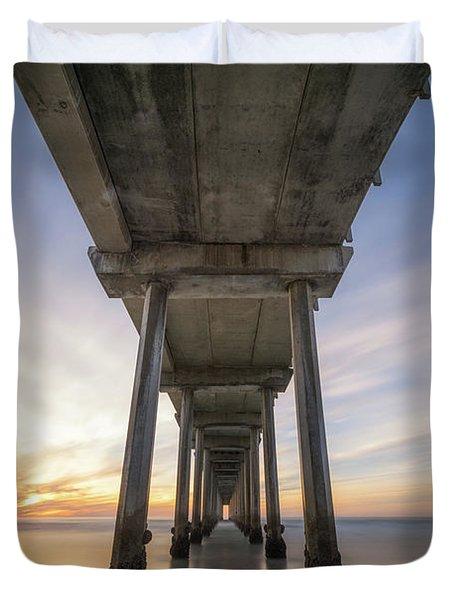Scripps Pier Sunset  Duvet Cover