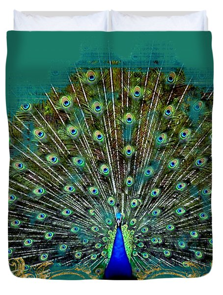 Scroll Swirl Art Deco Nouveau Peacock W Tail Feathers Spread Duvet Cover