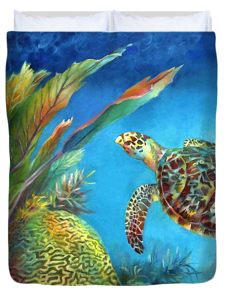 Duvet Cover featuring the painting Sea Escape Iv - Hawksbill Turtle Flying Free by Nancy Tilles