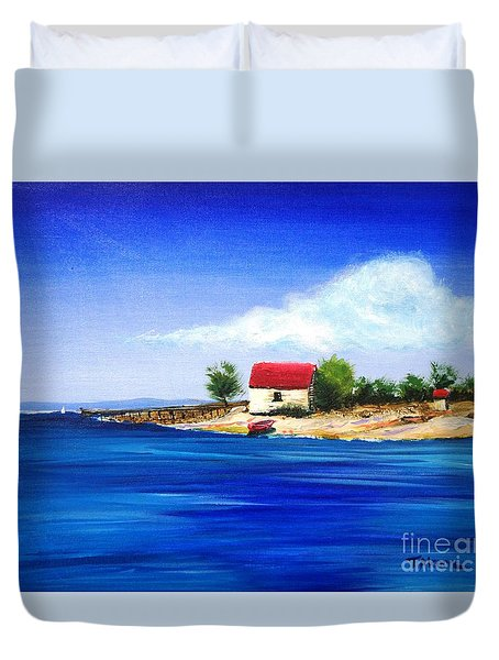 Duvet Cover featuring the painting Sea Hill Boatshed - Original Sold by Therese Alcorn