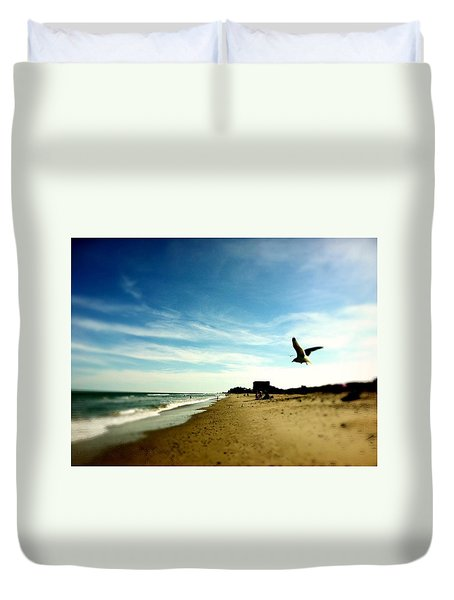Seagulls At The Beach. Duvet Cover