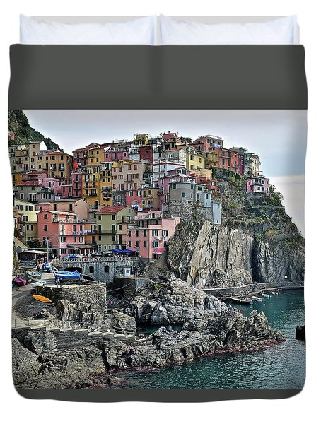 Duvet Cover featuring the photograph Seaside Village by Frozen in Time Fine Art Photography