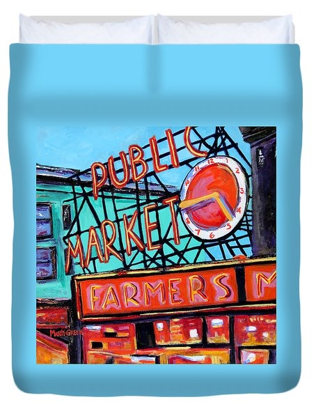 Duvet Cover featuring the painting Seattle Public Market by Marti Green