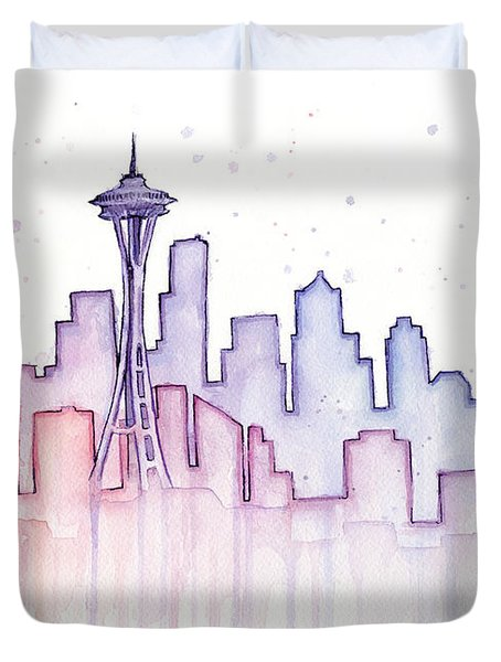 Seattle Skyline Watercolor Duvet Cover