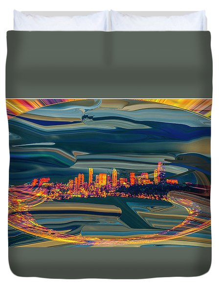 Duvet Cover featuring the digital art Seattle Swirl by Dale Stillman
