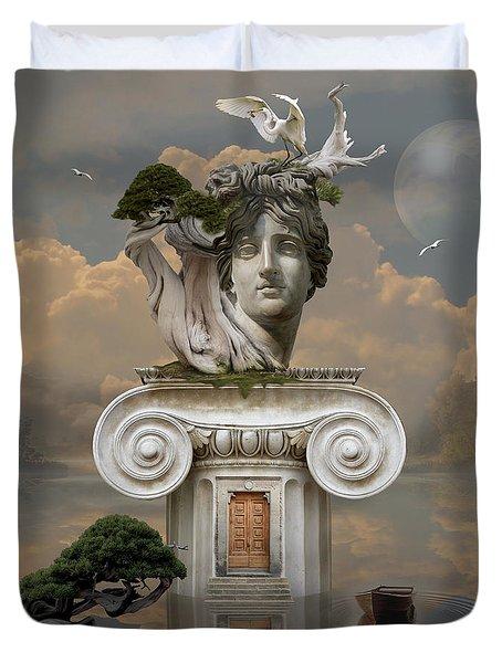 Duvet Cover featuring the digital art Secret Place Of Atlantis by Alexa Szlavics