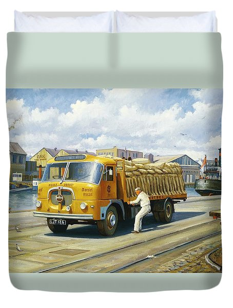 Seddon At Poole Docks. Duvet Cover by Mike  Jeffries