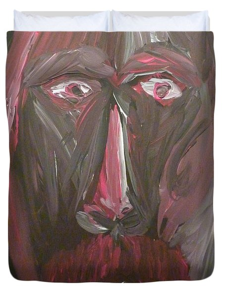 Duvet Cover featuring the painting Self Portrait by Joshua Redman