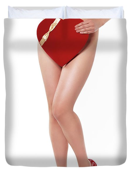 Sexy Young Woman With A Valentine Gift Duvet Cover by Oleksiy Maksymenko