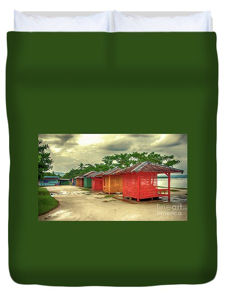 Duvet Cover featuring the photograph Shacks by Charuhas Images