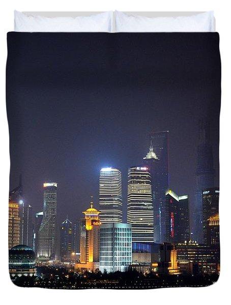 Shanghai China Skyline At Night From Bund Duvet Cover