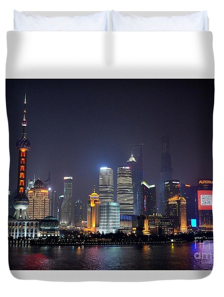 Shanghai China Skyline At Night From Bund Duvet Cover