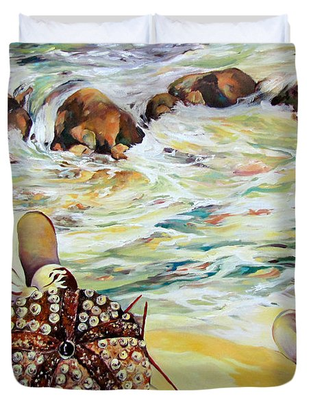Duvet Cover featuring the painting Shellscape by Rae Andrews