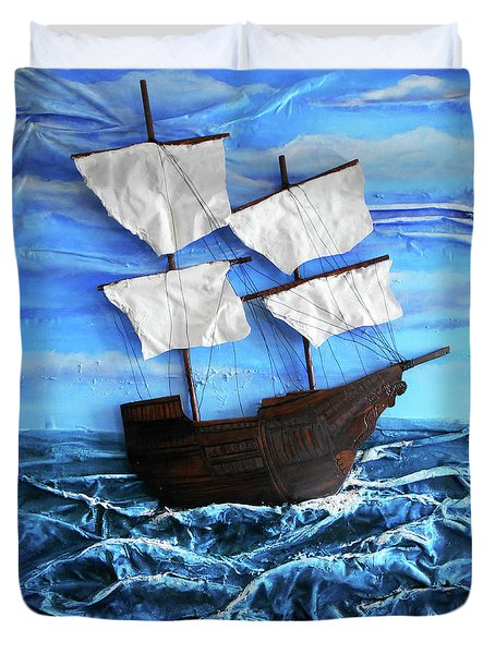Ship Duvet Cover by Angela Stout