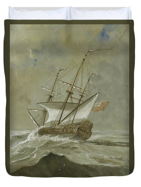 Ship At The Storm Duvet Cover