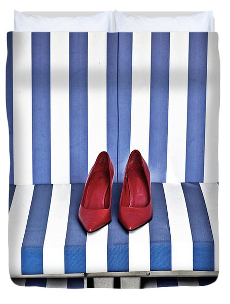 Shoes In A Beach Chair Duvet Cover by Joana Kruse
