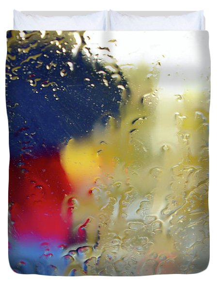 Silhouette In The Rain Duvet Cover by Carlos Caetano