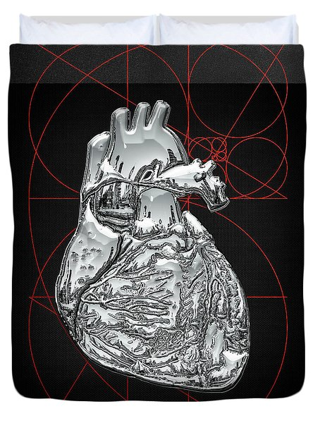 Silver Human Heart On Black Canvas Duvet Cover by Serge Averbukh