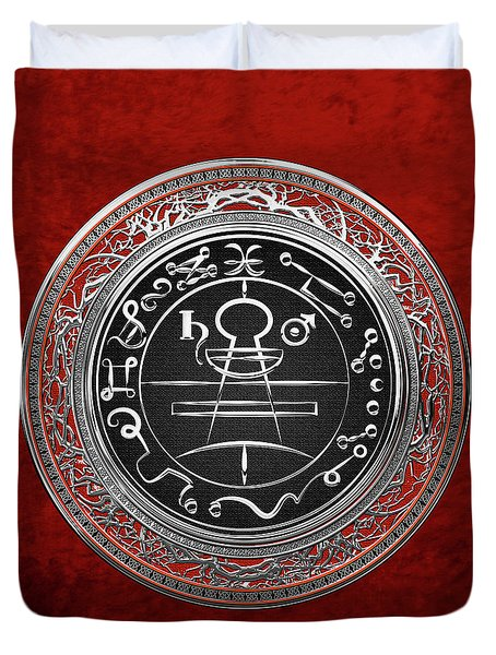 Silver Seal Of Solomon - Lesser Key Of Solomon On Red Velvet  Duvet Cover