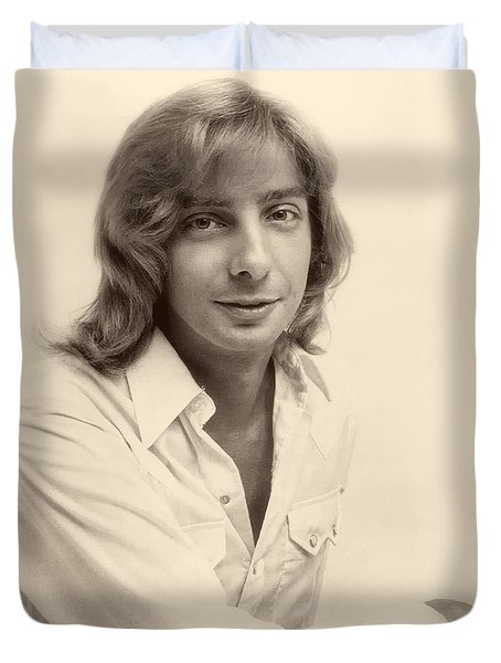 Singer Barry Manilow 1975 Duvet Cover by Mountain Dreams
