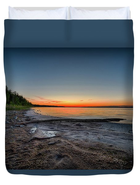 Duvet Cover featuring the photograph Skeleton Lake Beach At Sunset by Darcy Michaelchuk