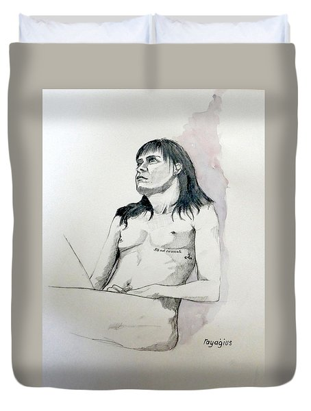 Sketch For White Amber Duvet Cover by Ray Agius