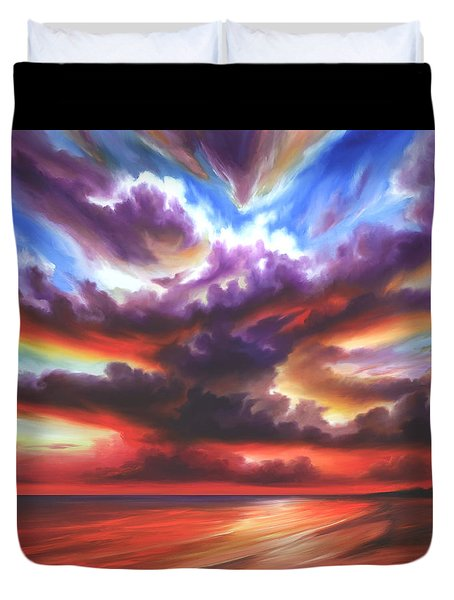 Duvet Cover featuring the painting Skyburst by James Christopher Hill