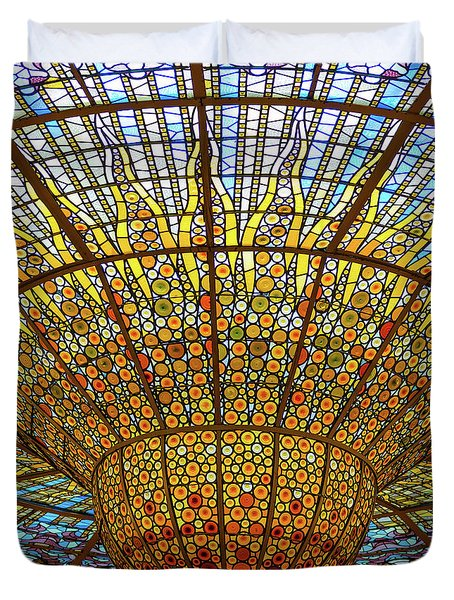 Skylight In Palace Of Catalan Music  Duvet Cover