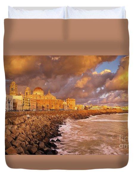 Skyline From Campo Del Sur Cadiz Spain Duvet Cover